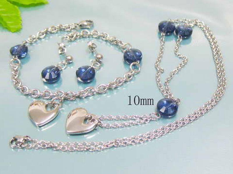 Sada Blue: náušnice + náhrdelník + náramek S2211 chirurgická ocel