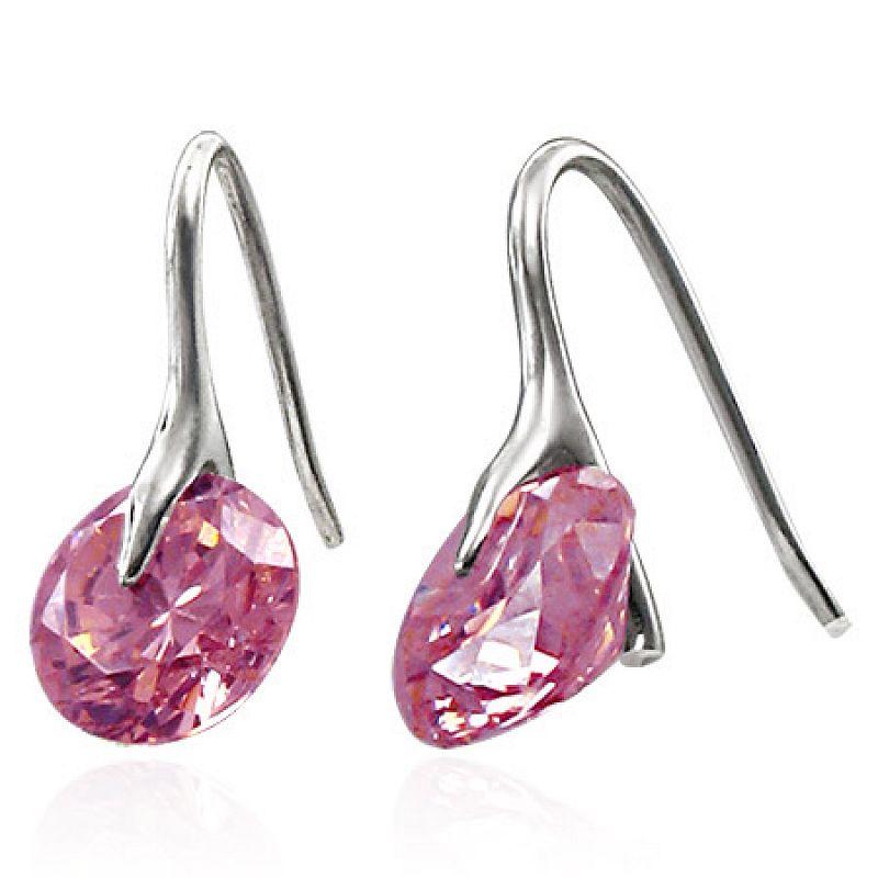 Náušnice s růžovým zirkonem Crystal Pink N603 chirurgická ocel