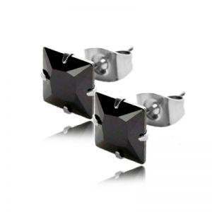 Náušnice se čtvercovým černým zirkonem 6mm AN1451 chirurgická ocel