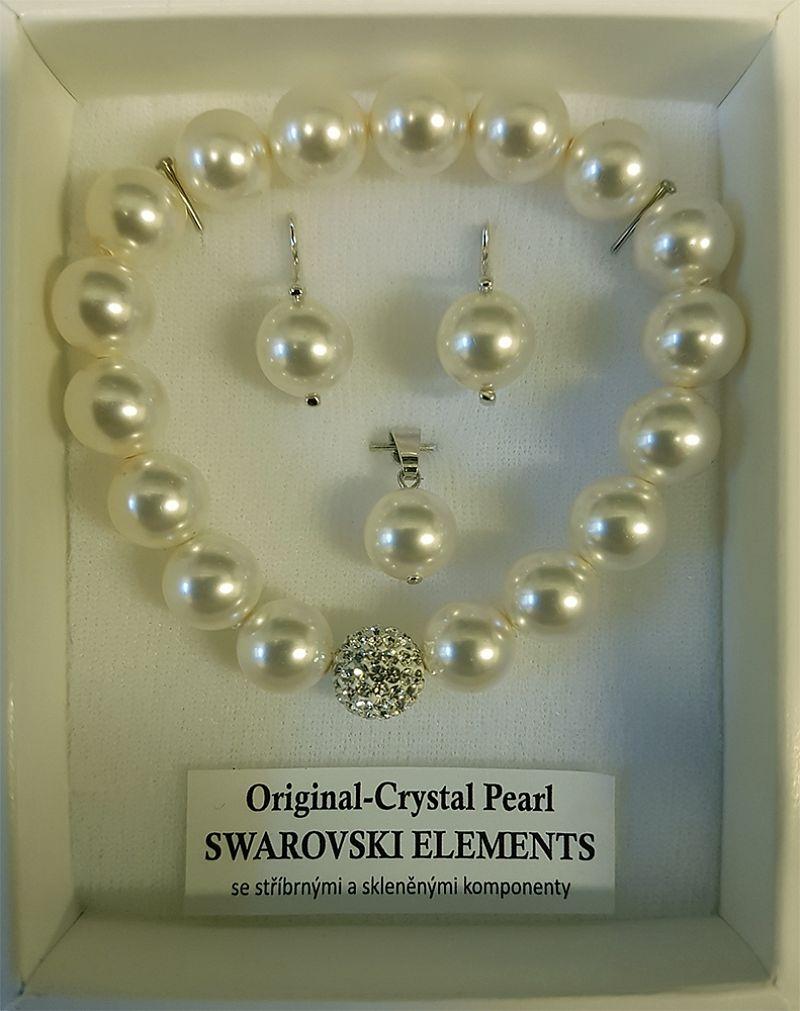 Stříbrný perlový set: náušnice+přívěšek+náramek A451/1 Swarovski Elements