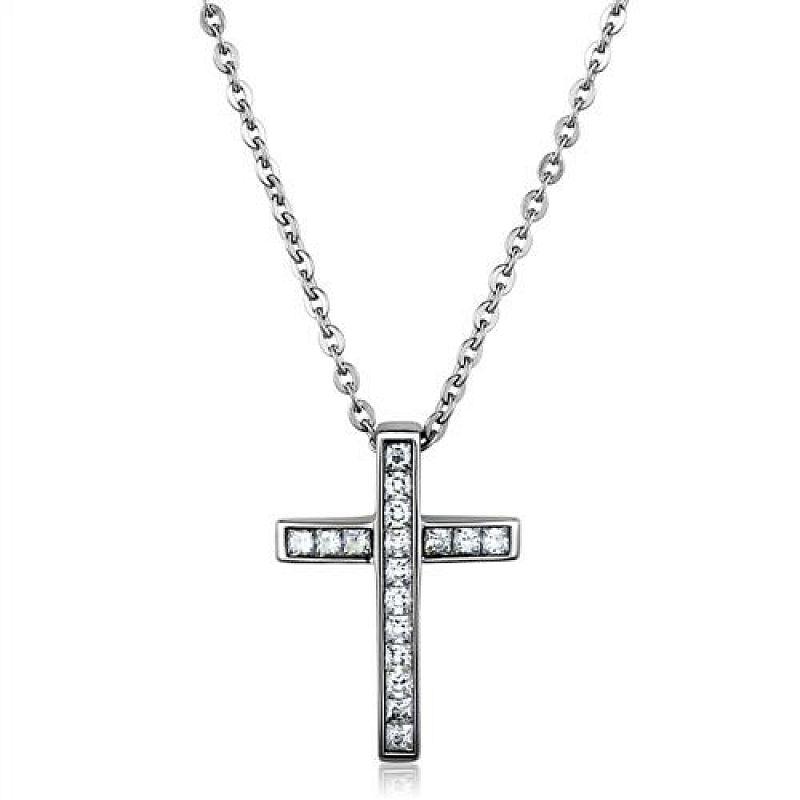 Řetízek s přívěškem Křížek se zirkony AE1233 chirurgická ocel
