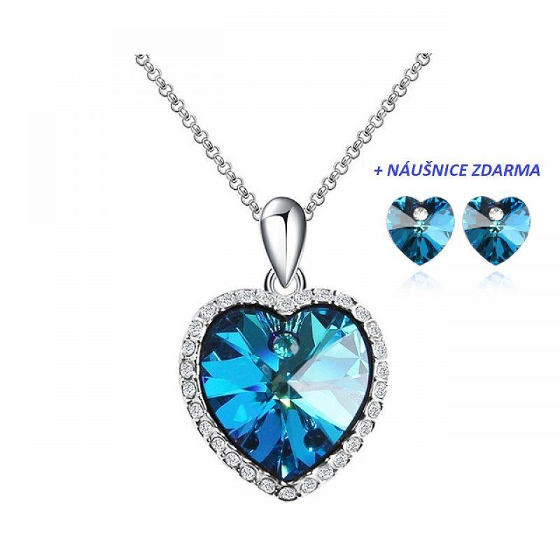 Náhrdelník Srdce oceánu Swarovski Elements 1212BBL + náušnice ZDARMA