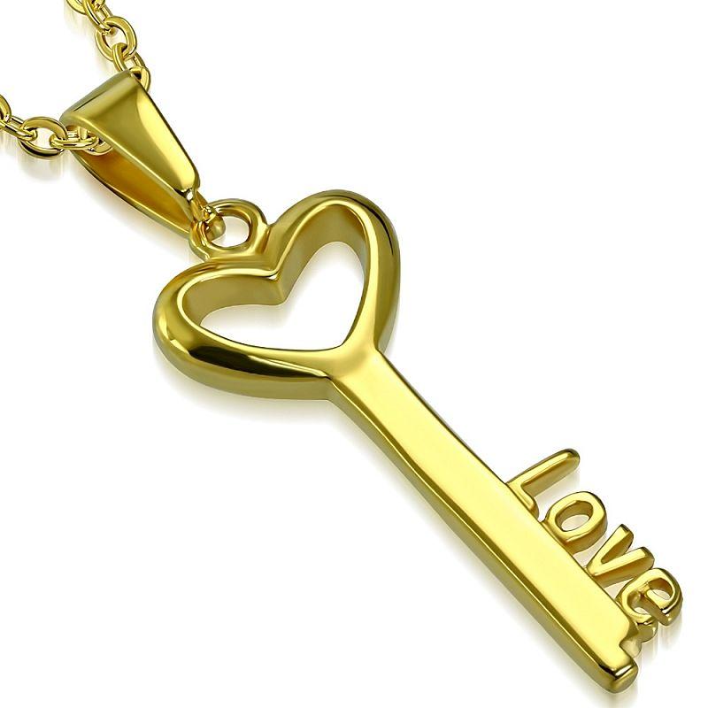 Přívěsek Zlacený klíč AP1334 chirurgická ocel
