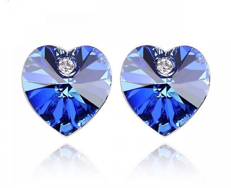 Náušnice Srdce Swarovski Elements Sapphire, 2019SA