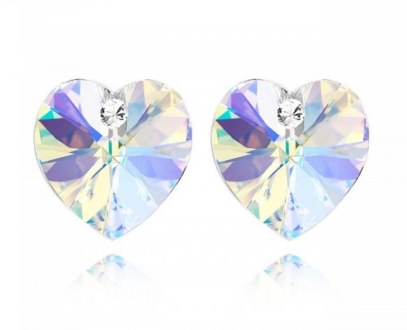 Náušnice Srdce Swarovski Elements Crystal AB - duhové, 2019AB