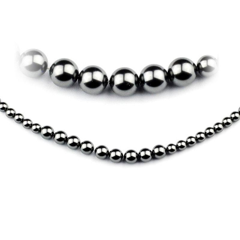 Perlový náhrdelník černý Swarovski Elements AB476/140