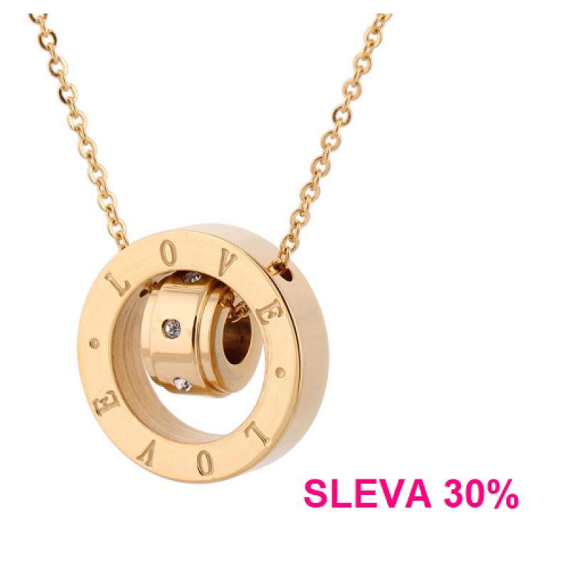 Náhrdelník zlacený Love Gold P1090 chirurgická ocel