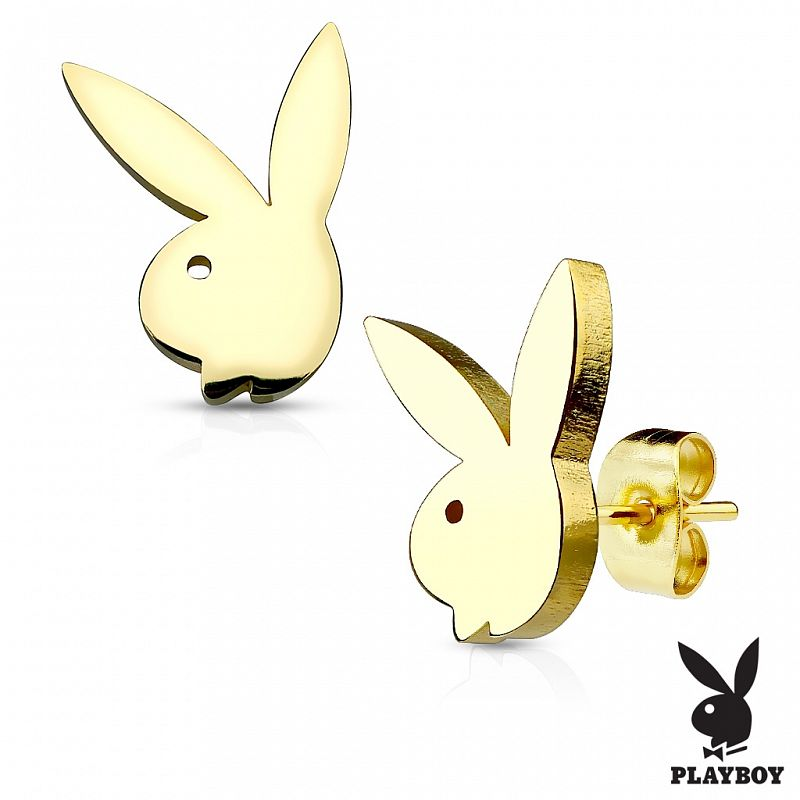 Zlacené náušnice Playboy AN1137G chirurgická ocel