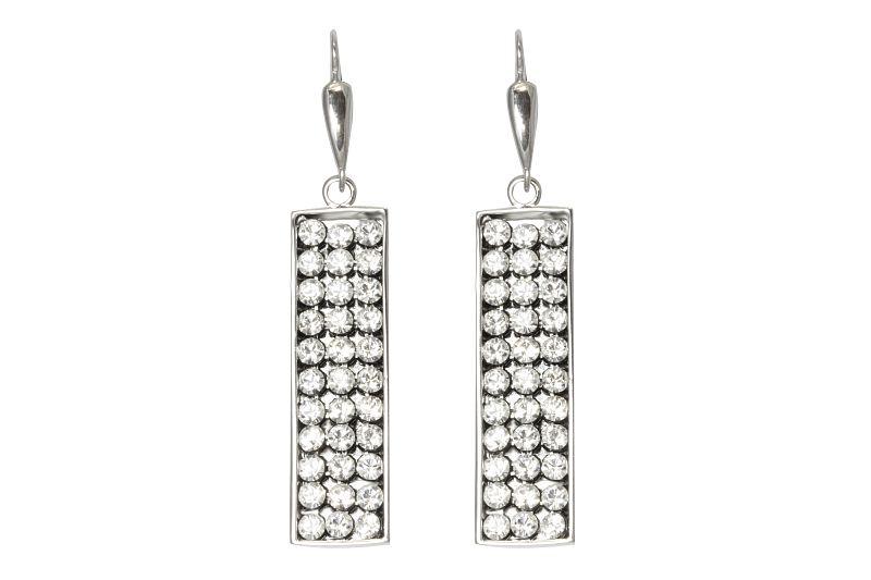 Stříbrné visací obdélníkové náušnice s krystaly Swarovski 12020763