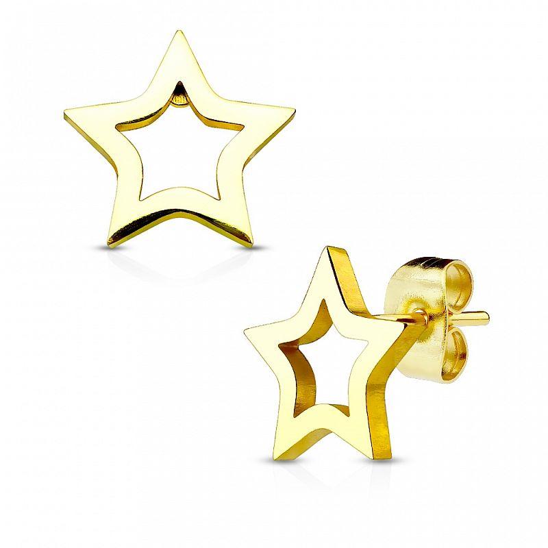 Zlacené náušnice Hvězdičky AN1496G chirurgická ocel
