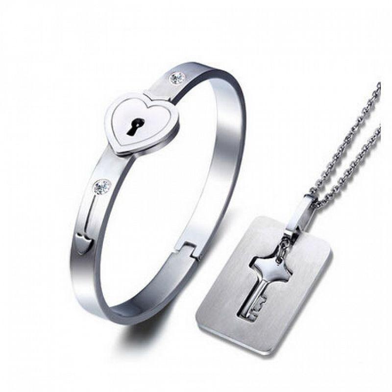 Set pro pár - náramek + náhrdelník s klíčem F1049 chirurgická ocel