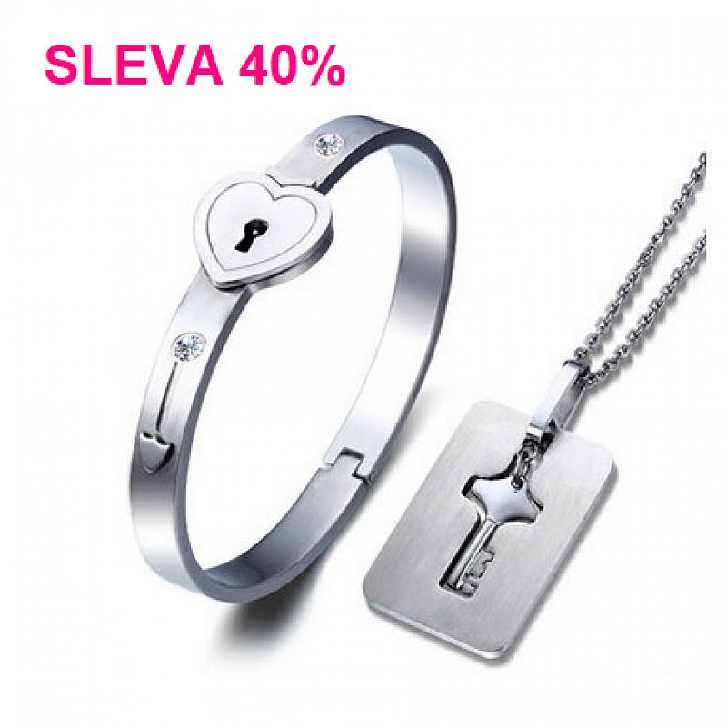 Partnerský náramek + náhrdelník s klíčem F1049 chirurgická ocel