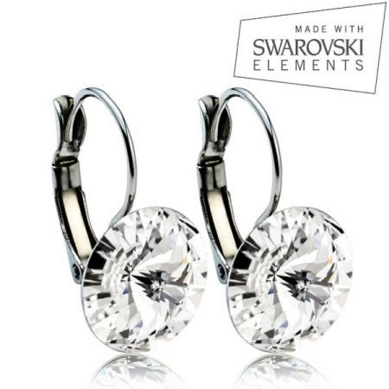 Ocelové náušnice RIVOLI 12 mm, SWAROVSKI® Elements, Crystal ASW01