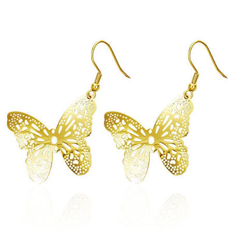 Zlacené náušnice Motýlky Gold N904 chirurgická ocel