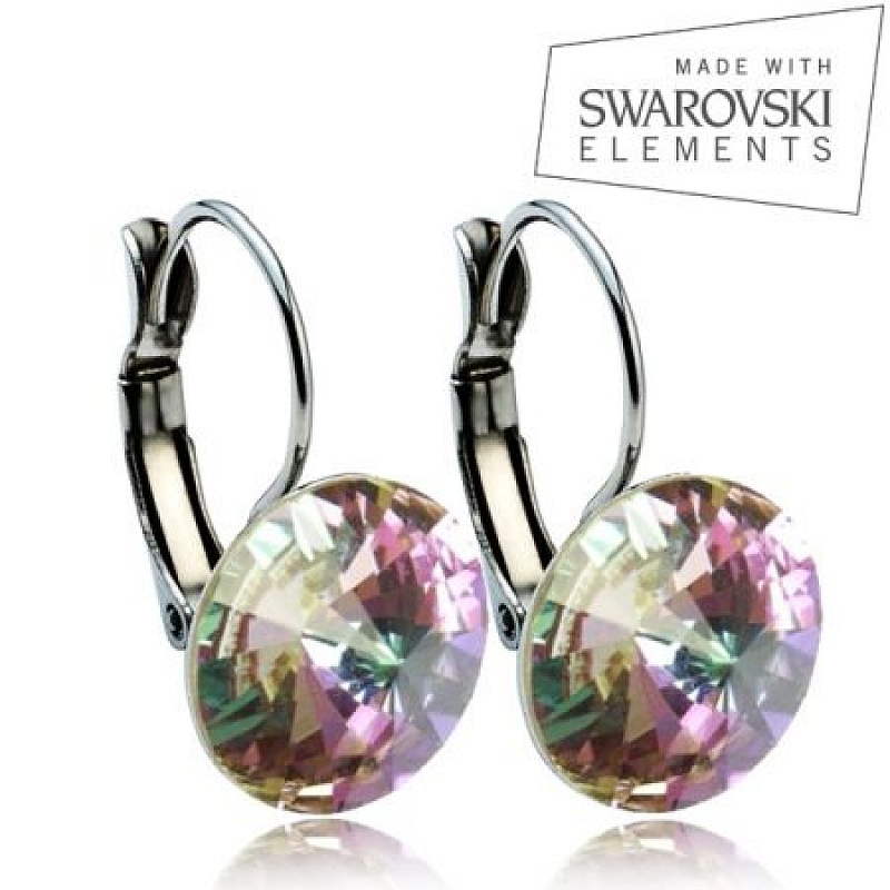 Ocelové náušnice RIVOLI 12 mm, SWAROVSKI® Elements, Vitrail Light ASW04