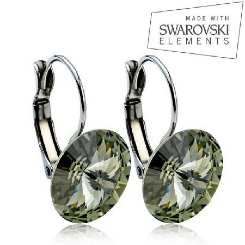 Ocelové náušnice RIVOLI 12 mm, SWAROVSKI® Elements, Black Diamond ASW25