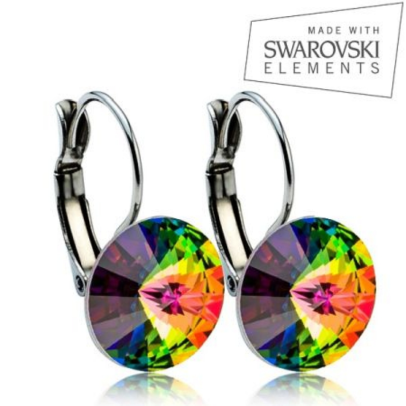 Ocelové náušnice RIVOLI 12 mm, SWAROVSKI® Elements, Vitrail Medium ASW03