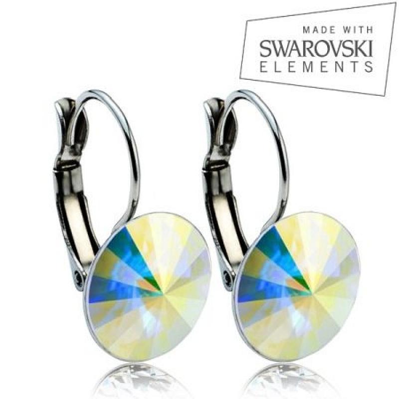 Ocelové náušnice RIVOLI 12 mm, SWAROVSKI® Elements, AB ASW02