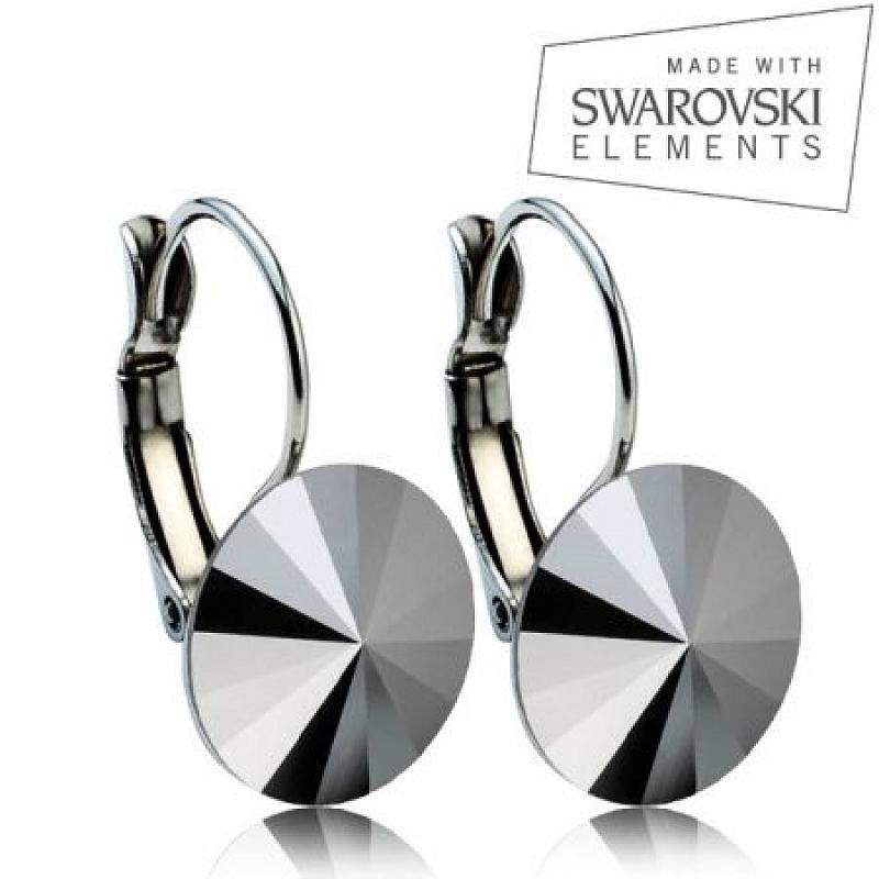 Ocelové náušnice RIVOLI 12 mm, SWAROVSKI® elements, Jet Hematite ASW18