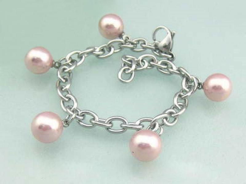 Náramek dámský Pink Pearls AA1184 chirurgická ocel
