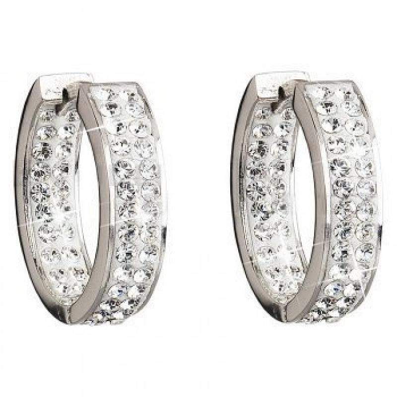 Stříbrné náušnice kruhy 22 mm Swarovski Elements Crystal AG2041