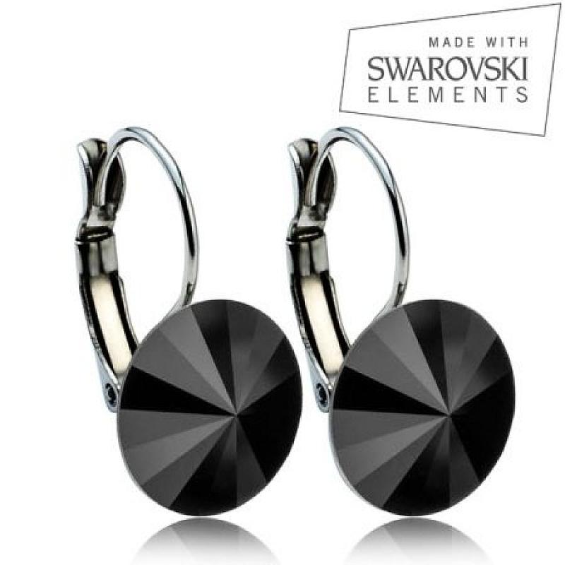 Ocelové náušnice RIVOLI 12 mm, SWAROVSKI® Elements, Jet Black ASW16