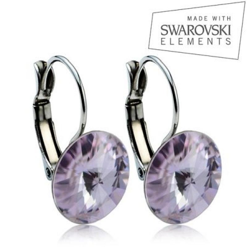 Ocelové náušnice RIVOLI 12 mm, SWAROVSKI® elements, Violet ASW07