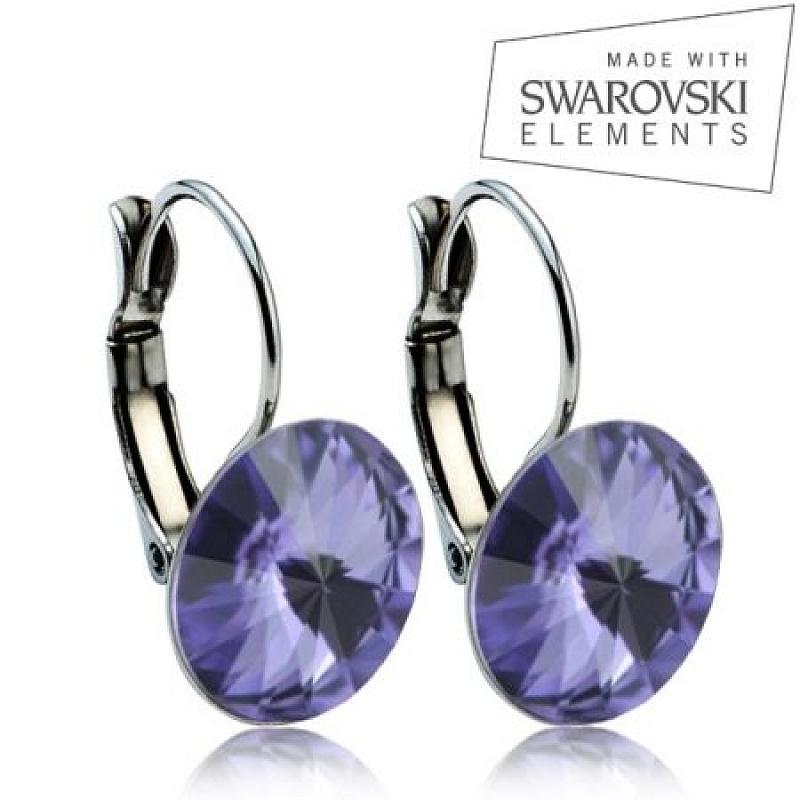 Ocelové náušnice RIVOLI 12 mm, SWAROVSKI® elements, Tanzanite ASW08