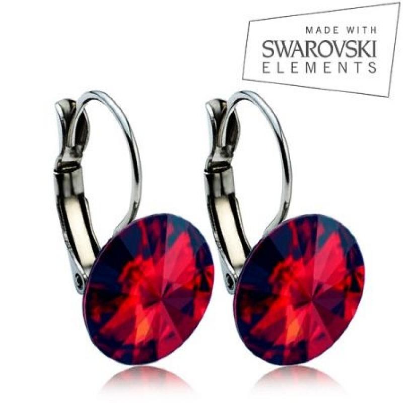 Ocelové náušnice RIVOLI 12 mm, SWAROVSKI® elements, Siam ASW10