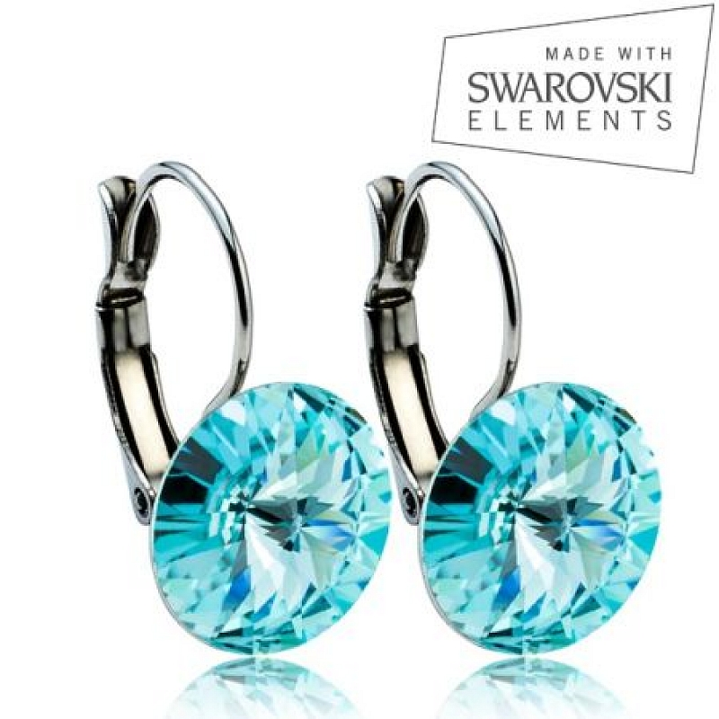 Ocelové náušnice RIVOLI 12 mm, SWAROVSKI® elements, Light Turquise ASW06