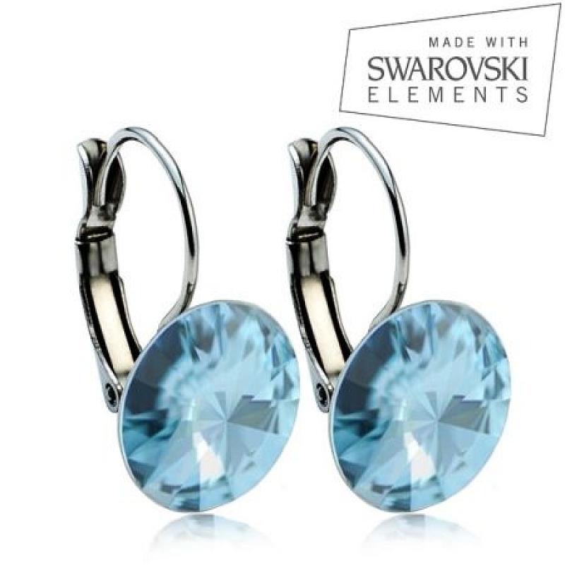 Ocelové náušnice RIVOLI 12 mm, SWAROVSKI® elements, Aquamarine ASW12