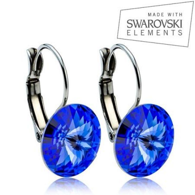 Ocelové náušnice RIVOLI 12 mm, SWAROVSKI® elements, Sapphire ASW09