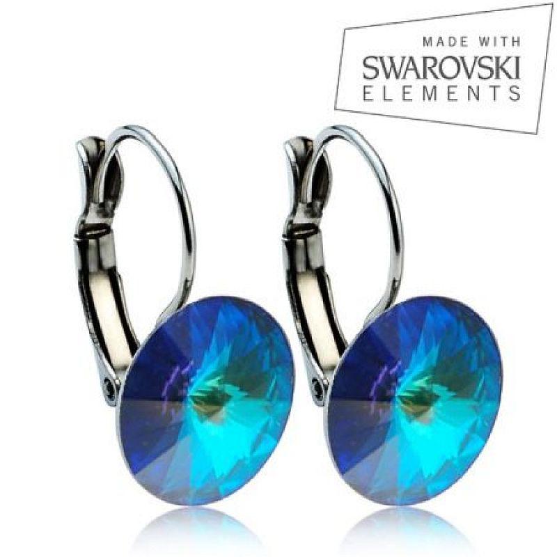 Ocelové náušnice RIVOLI 12 mm, SWAROVSKI® elements, Bermuda Blue ASW22