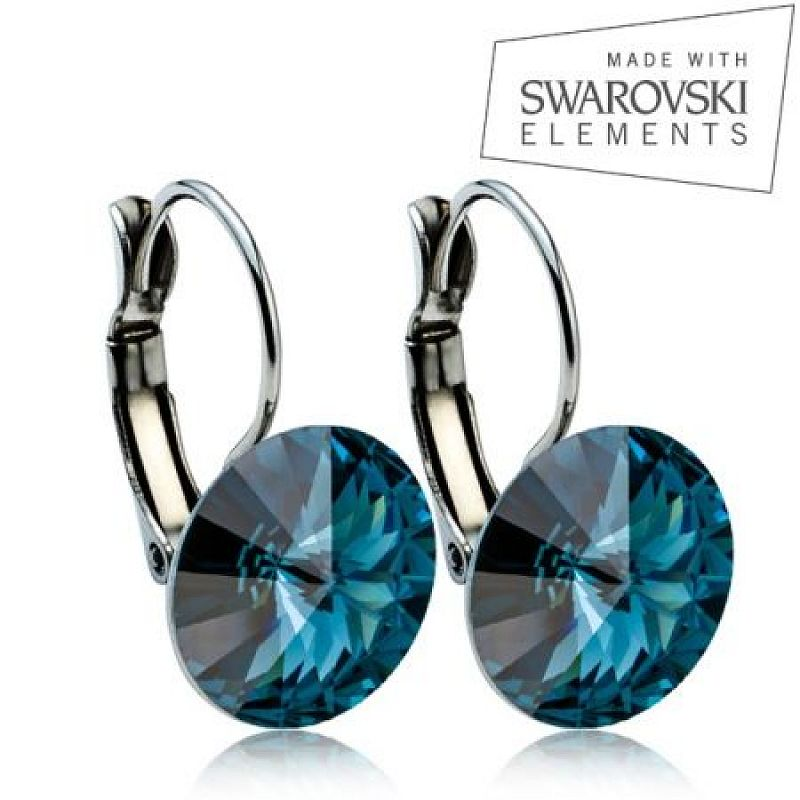 Ocelové náušnice RIVOLI 12 mm, SWAROVSKI® elements, Montana Blue ASW23