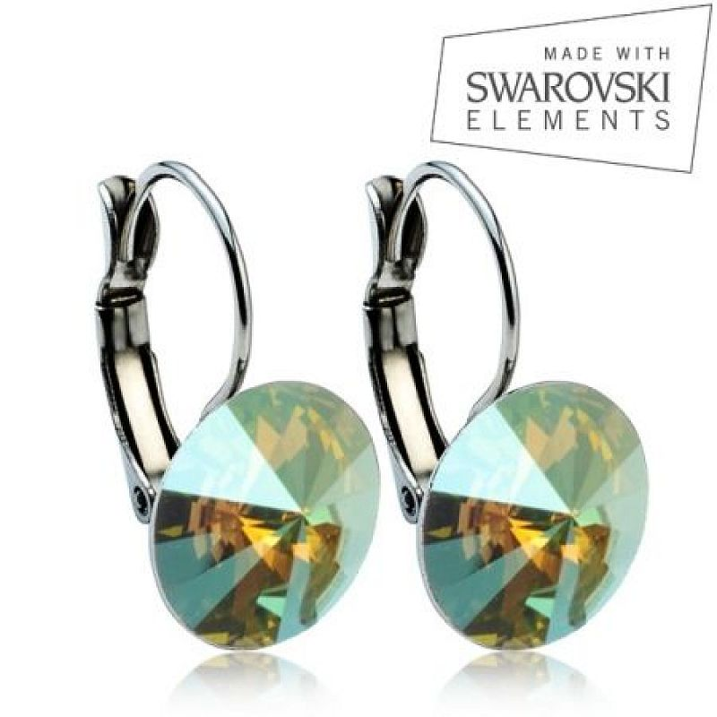 Ocelové náušnice RIVOLI 12 mm, SWAROVSKI® elements, Iridescent Green ASW17