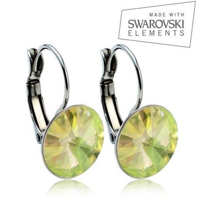 Ocelové náušnice RIVOLI 12 mm, SWAROVSKI® elements, Luminous Green ASW15