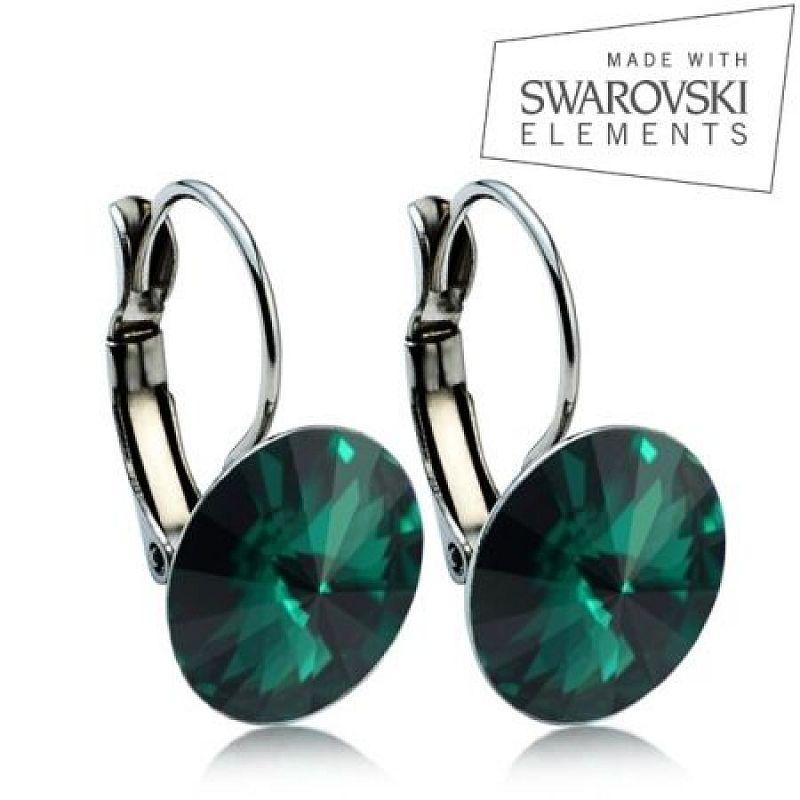 Ocelové náušnice RIVOLI 12 mm, SWAROVSKI® elements, Emerald ASW20