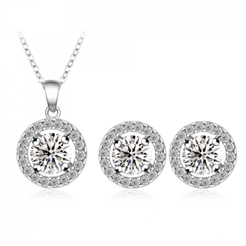 Set Lucy: náušnice + náhrdelník B0003 Zirconia Luxury