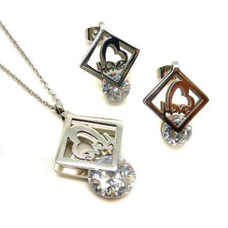 Sada Love: náhrdelník + náušnice S2434 chirurgická ocel
