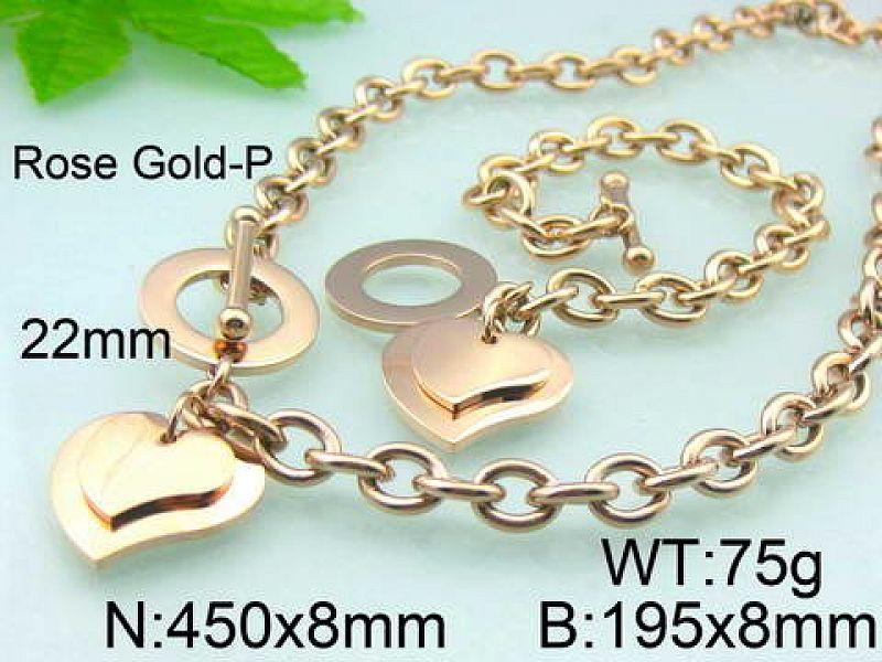 Set Heart Pink Gold: Náhrdelník + náramek S3073 chirurgická ocel