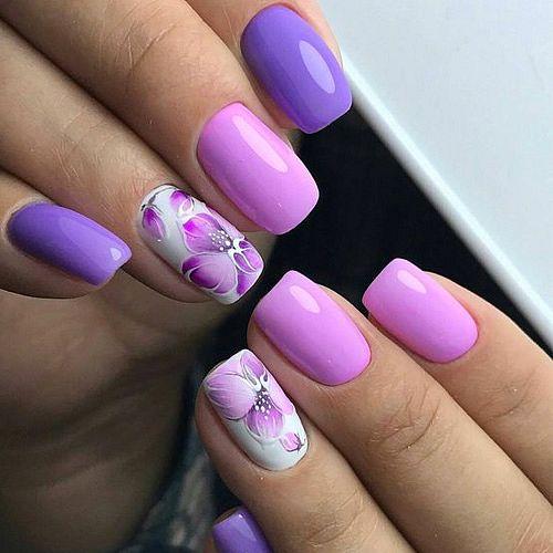 jarní gelové nehty fialové